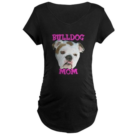 Bulldog Mom Maternity Dark T-Shirt
