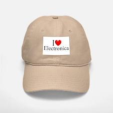 """""""I Love (Heart) Electronica"""" Baseball Baseball Cap"""