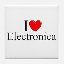 """I Love (Heart) Electronica"" Tile Coaster"