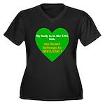 Ireland Women's Plus Size V-Neck Dark T-Shirt