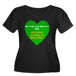 Ireland Women's Plus Size Scoop Neck Dark T-Shirt