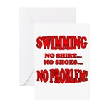 No Shirt,No Shoes,No Problem Greeting Cards (Packa