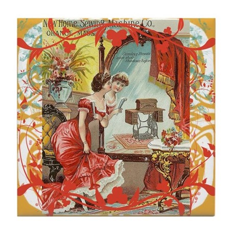 Vintage Sewing Machine Print Tile Coaster