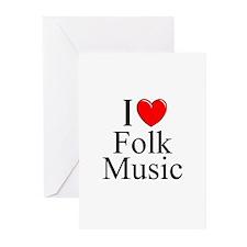 """I Love (Heart) Folk Music"" Greeting Cards (Pk of"