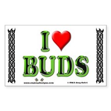 I Love Buds - Rectangle Decal