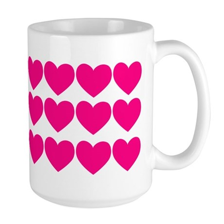 Valentine Mug Rows of Pink Hearts Large Mug
