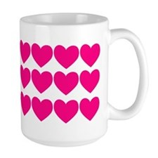 Valentine Mug Rows of Pink Hearts Mug