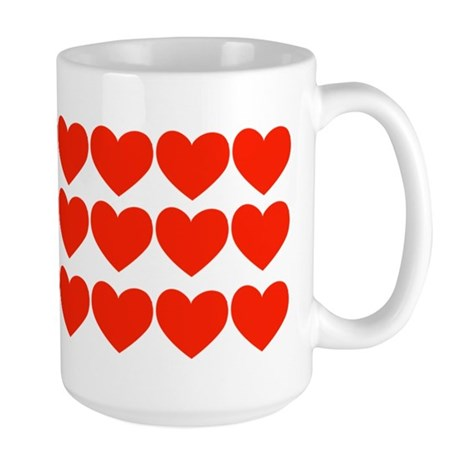 Rows of Red Hearts Large Mug