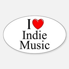 """""""I Love (Heart) Indie Music"""" Oval Decal"""
