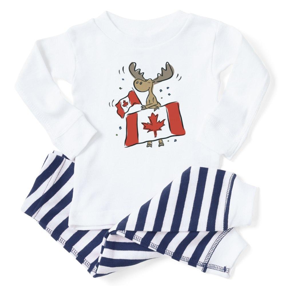 353561546 CafePress Canada Day Moose Baby Toddler Pajama Striped Pants Set