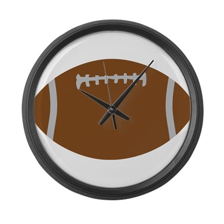 brown football - rugby ball Large Wall Clock