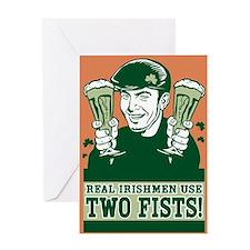 Two-Fisted Irishman Greeting Card