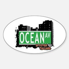 OCEAN AVENUE, STATEN ISLAND, NYC Oval Decal