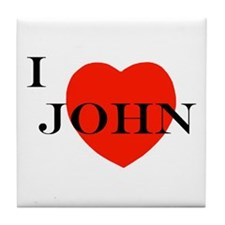 I Love John! Tile Coaster