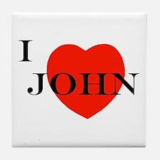 I Love John! Tile Coaster