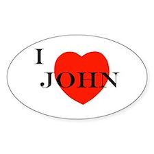 I Love John! Oval Decal
