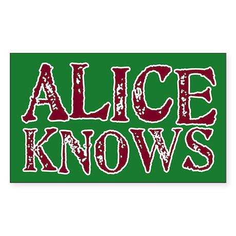 Alice Knows Rectangle Sticker