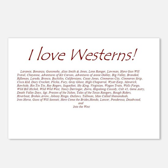 I LOVE WESTERNS Postcards (Package of 8)