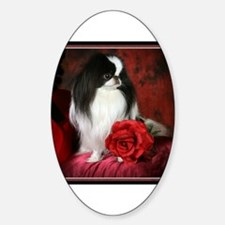 Japanese Chin & Rose Oval Decal