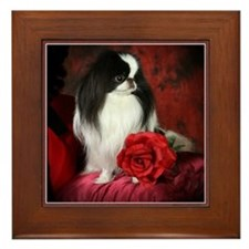 Japanese Chin & Rose Framed Tile