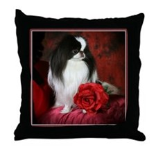 Japanese Chin & Rose Throw Pillow