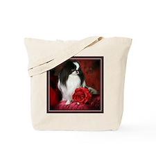 Japanese Chin & Rose Tote Bag