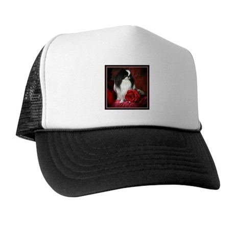 Japanese Chin & Rose Trucker Hat