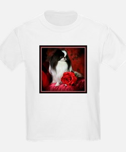 Japanese Chin & Rose Kids T-Shirt