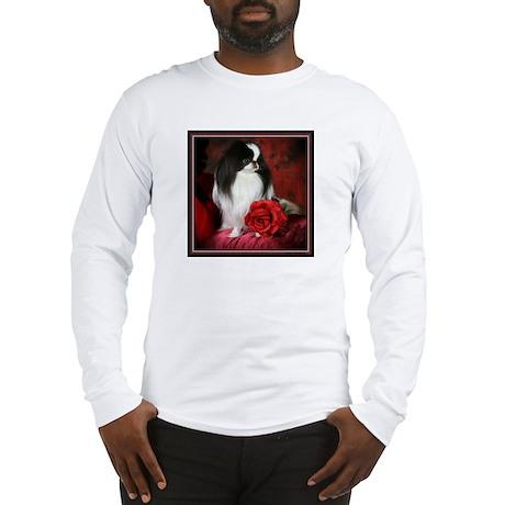 Japanese Chin & Rose Long Sleeve T-Shirt
