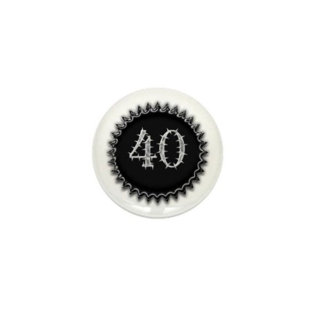 Black 40th Birthday Mini Button (10 pack)