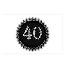 Black 40th Birthday Postcards (Package of 8)