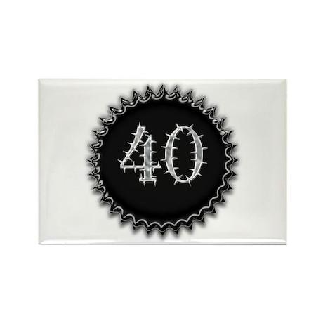 Black 40th Birthday Rectangle Magnet (100 pack)