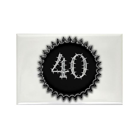 Black 40th Birthday Rectangle Magnet (10 pack)