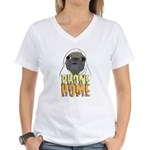 phone home pug dog look Women's V-Neck T-Shirt