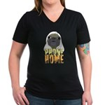 phone home pug dog look Women's V-Neck Dark T-Shir
