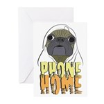 phone home pug dog look Greeting Cards (Pk of 10)