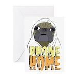 phone home pug dog look Greeting Card