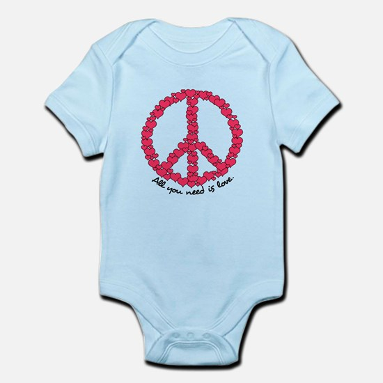 Hearts Peace Sign Infant Bodysuit