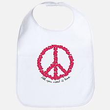 Hearts Peace Sign Bib