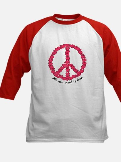 Hearts Peace Sign Kids Baseball Jersey