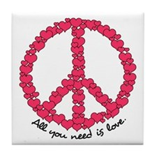 Hearts Peace Sign Tile Coaster