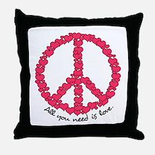 Hearts Peace Sign Throw Pillow