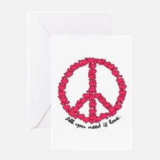 Hearts Peace Sign Greeting Card