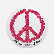 Hearts Peace Sign Ornament (Round)