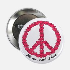 "Hearts Peace Sign 2.25"" Button"