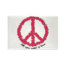 Hearts Peace Sign Rectangle Magnet