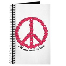 Hearts Peace Sign Journal