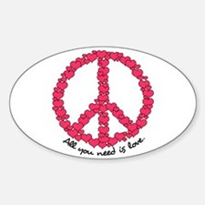 Hearts Peace Sign Oval Decal