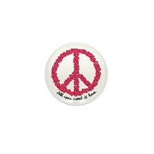 Hearts Peace Sign Mini Button