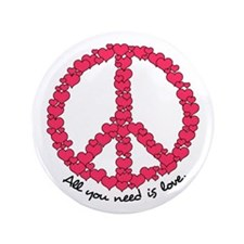 """Hearts Peace Sign 3.5"""" Button"""